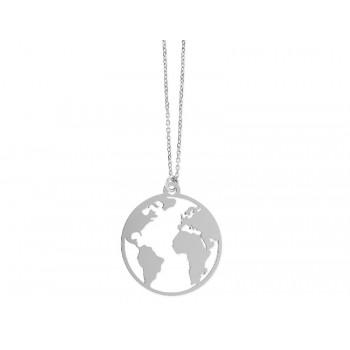 Colgante mapa del mundo plata 25mm - LAD7103CL