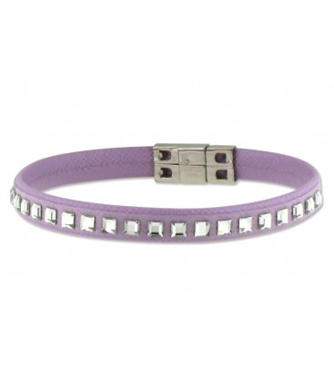 Pulsera piel made with swarovski element - 84SW02-10
