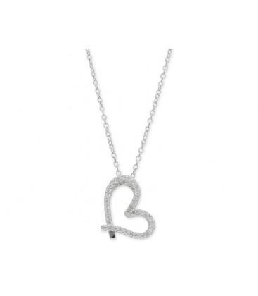 Colgante corazón plata y circonitas - LAD4373CL