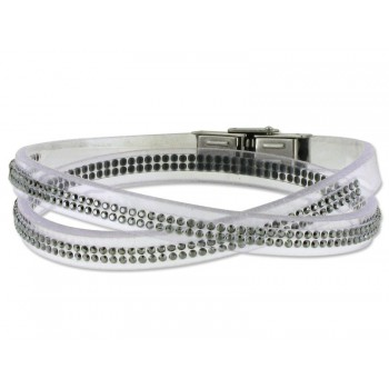 Pulsera piel made with swarovski element - 84SW05-1