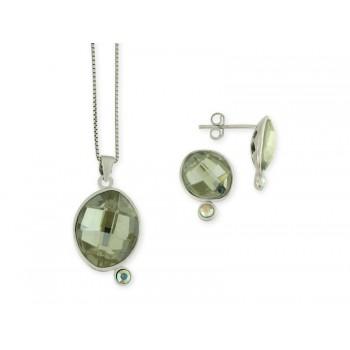 Conjunto plata y swarovski crystals - LSW1012C-G