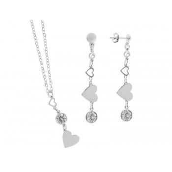 Collar + pendientes plata corazones - LAF2049C