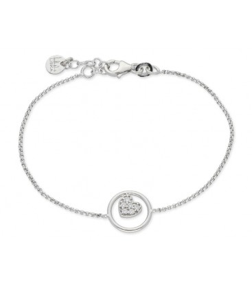 Pulsera corazón plata y circonitas - LAF6055BR