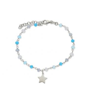 Pulsera estrella plata piedras naturales - LAD1104BR