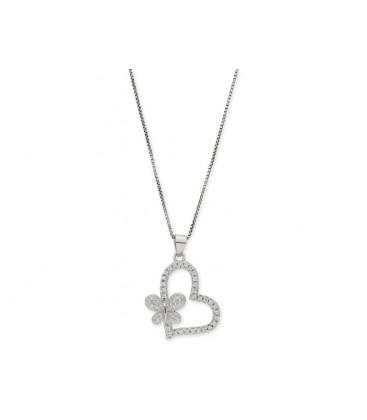 Colgante corazón plata y circonitas - LAD4490CL