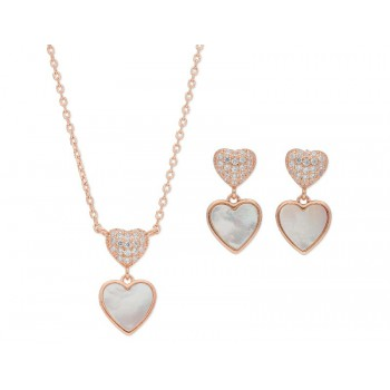 Conjunto  corazones plata y circonitas - LAD4483C
