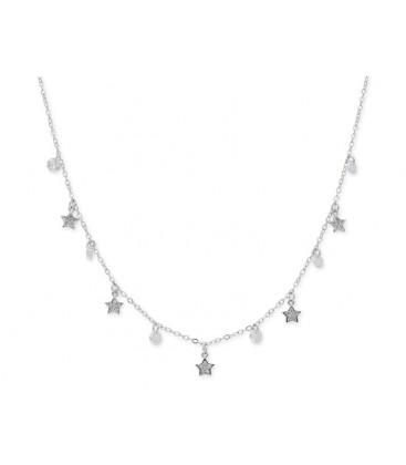 Collar estrellas plata y circonitas - LAD8141CL
