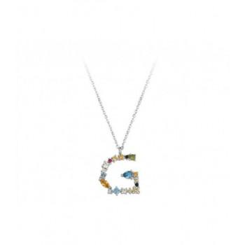 Colgante letra plata y circonitas - LET01CL-G