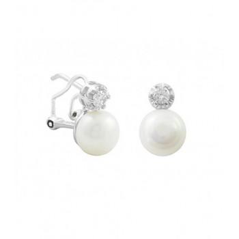 Pendientes plata, perlas y circonitas - MED087A