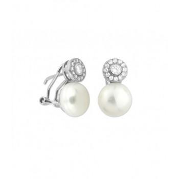 Pendientes plata, perlas y circonitas - MED090A