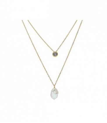 Collar doble plata,  perlasy circonitas - MED006CL-D