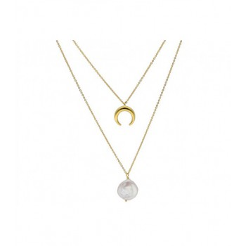 Collar doble plata y  perlas - MED007CL-D