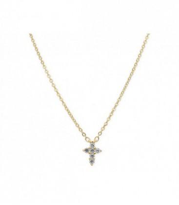 Colgante cruz plata y circonitas - MED031CL-D