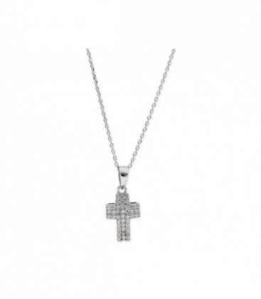 Collar cruz plata y cinconitas - LAD8002CL-B