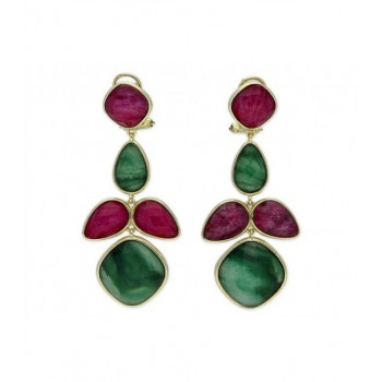 Pendientes plata natural ruby y jaspe - BE53545RBJV