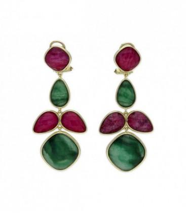 Pendientes plata natural ruby y jaspe - BE53545RBJV