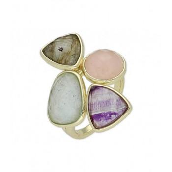 Anillo plata fluorita, cuarzo rosa, amaz - BR12903FLCRAML