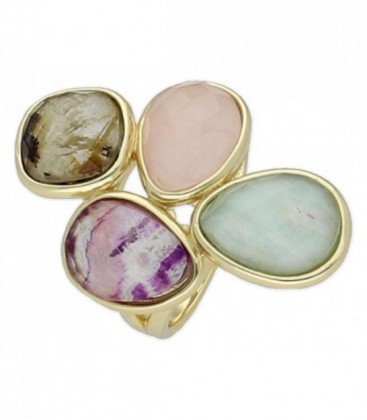 Anillo plata fluorita, cuarzo rosa, amaz - BR12904FLCRAML