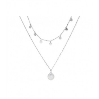Collar doble plata y  perlas - MED008CL