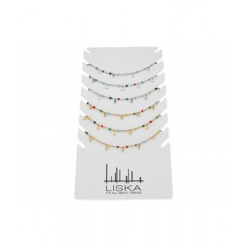 6 collares acero y cerámica + expositor - CH060PACK