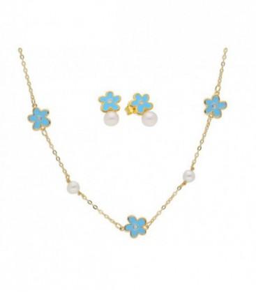 Cto flores plata, perlas y esmalte-43+4 - BAM001C-D