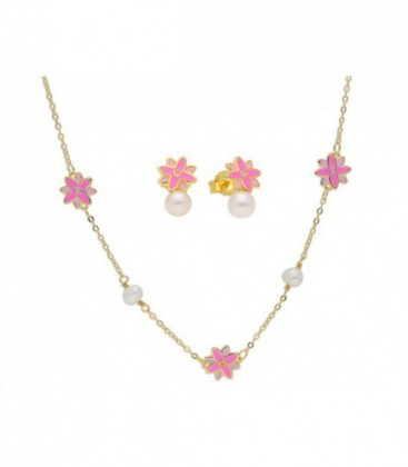 Cto flores plata, perlas y esmalte-43+4 - BAM002C-D