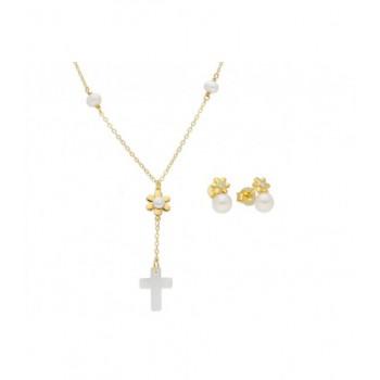 Cto. cruz y flor plata y perlas -42,5+4 - BAM008C-D
