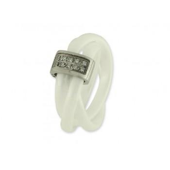 Anillo acero, cerámica y circonitas - 71AN436-1