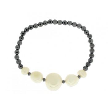 Pulsera ematites y perlas naturales - LP1002BR-N