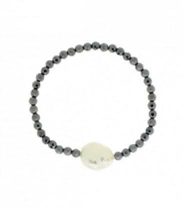 Pulsera ematites y perlas naturales - LP1001BR-N