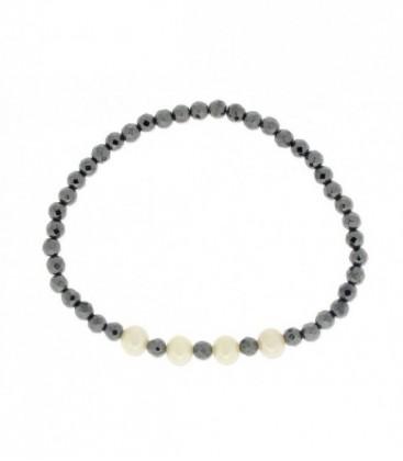 Pulsera ematites y perlas naturales - LP1004BR-N