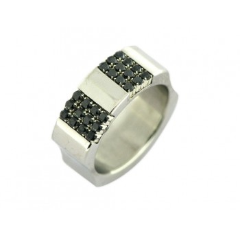 Anillo acero y swarovski - 84AN239-N