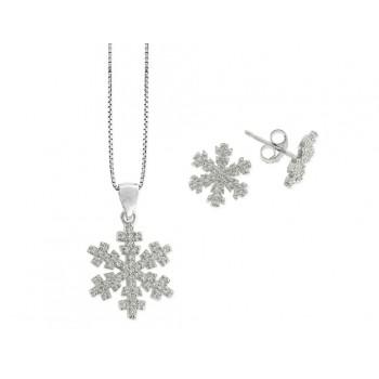 Conjunto estrella nieve plata y circonit - LAD4250C