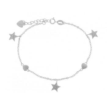 Pulseras estrellas plata y circonitas - LAD4268BR